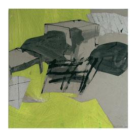 Raumbild Grün, 100/100cm, Mischtecknik Papier auf Leinwand, 2007