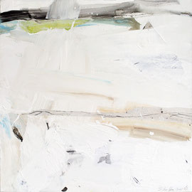 Landschaft weiß, 100/100cm, Mischtechnik/Leinwand, 2011