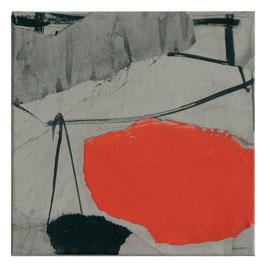 Raumbild Orange, 30/30cm, Mischtecknik Papier auf Leinwand, 2007