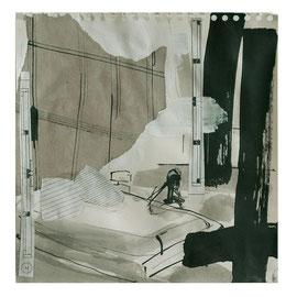 Raumbild Collage, 30/30cm, Mischtecknik Papier auf Leinwand, 2007