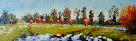 Riverbank willows - Oil on gessoed board, 5 1/2 x 17 1/2 inches (14 x 44.5 cm)