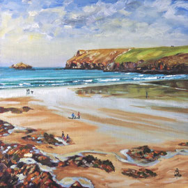 Autumn day, Polzeath - Oil on canvas board, 12 x 12 inches (30 x 30 cm).  £550 with frame.  Available through The Archive Gallery, Wiltshire