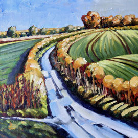 Country road, take me home - Oil on canvas board, 12 x 12 inches (30 x 20 cm)