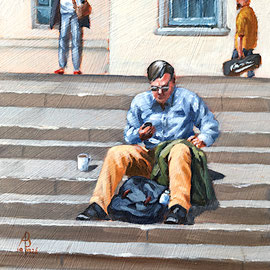Office alfresco - Oil, 6 x 6 inches (15 x 15 cm)