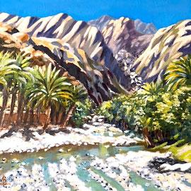 Wadi, Oman - Acrylic on gessoed card, 6 1/4 x 6 1/4 inches