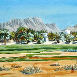 Farm, Oman - Acrylic on gessoed card, 6 3/4 x 6 3/4 inches