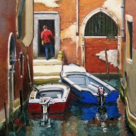 """""""Buongiorno!"""", Venice - Oil, 8 x 8 inches (20 x 20 cm)."""