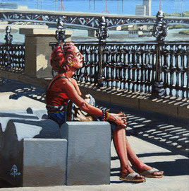Isolation: South Bank Sunbather - Oil, 8 x 8 inches (20 x 20 cm).