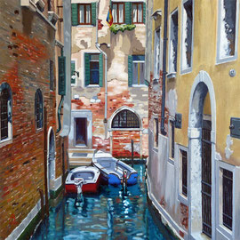 Parked up, Venice - Oil, 16 x 16 inches (40 x 40 cm). Special Recognition for Exceptional Art: Light Space & Time Open Exhibition 2017
