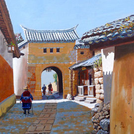 Village gate near Dali, Yunnan province, China - Acrylic on heavy card, 12 x 12 inches