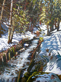 Alpine stream 2 - Oil on canvas board, 16 x 12 inches