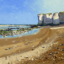 Chalk deposits, Botany Bay, Kent - Oil on Ambersand board, 12 x 12 inches (30 x 30 cm)