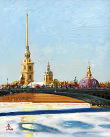 Early morning, St Petersburg - Oil, 10 x 8 inches (25 x 20 cm).