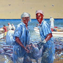 The evening catch, Oman - Acrylic on canvas board, 12 x 12 inches (30 x 30 cm)