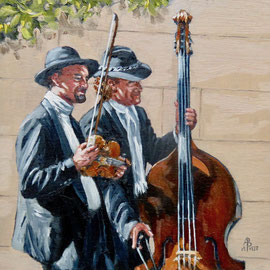 Street musicians - Oil, 8 x 8 inches (20 x 20 cm).  January 2020 Awarded Special Merit in Light Space & Time international competition.