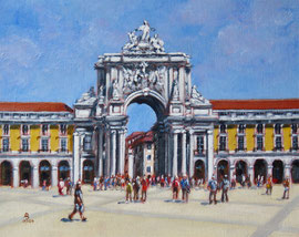 Rua Augusta Arch, Lisbon - Oil,, 8 x 10 inches (25 x 20 cm).   Available through The Archive Gallery, Wiltshire