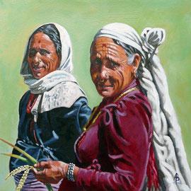 Rice farmers, Nepal - Acrylic on heavy card, 12 x 12 inches (30 x 30 cm)