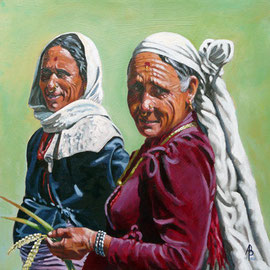 Rice farmers, Nepal - Acrylic on heavy card, 12 x 12 inches (30 x 30 cm)