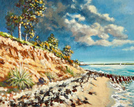Storm clouds, Lepe, Hampshire - Acrylic, 8 x 10 inches (20 x 25 cm).  SALE - £200 with frame.