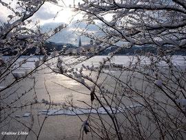 Eis und Schnee an der Binnenalster