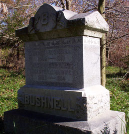 Civil War veteran Homer Bushnell (d. 1915) and his wife Martha (d. 1914) are remembered with a more majestic marker.
