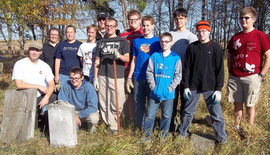 Boy Scout Troop 315 after cleaning the White Cemetery in October. Front row, kneeling, Paul Kirwan (former Scoutmaster) and