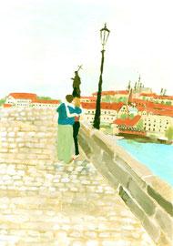 man & woman, Prague