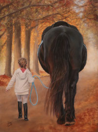 """""""Hermine + the Friesian Gerwin"""", pastel on pastelmat,  30 x 40 cm, commission"""