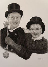 Stefan und Eva-Maria Rung, charcoal on Daler Rowney drawing paper, 40 x 60 cm, commission