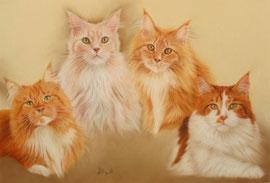 """Benji, Miles, Angie, Kimba"", Maine Coons, pastel on pastelmat, 41 x 60 cm, commission"