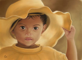 """girl with hat,  pastel on pastelmat, 30 x 40 cm, reference photo """"fsHH"""", pixabay; SOLD"""