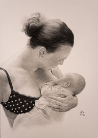 Mother with child, charcoal on Daler Rowney drawing paper, 41 x 46 cm, commission