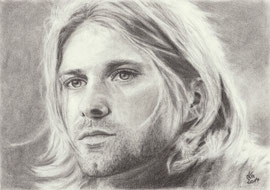 Kurt Cobain, charcoal, 20 x 28 cm, unknown photographer