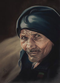 old man,  pastel on pastelmat, 26 x 35 cm, reference photo Jörg Peter, pixabay
