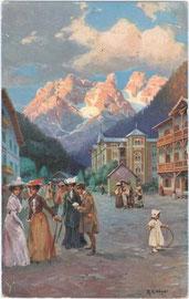 Hotelkolonie Landro (Gemeinde Toblach) im Höhlensteintal an der Großen Dolomitenstraße (1407 m.) mit Cristallin (2786 m). Farbautoypie 9 x 14 cm. Entwurf: R(udolf). A(lfred). Höger (1877-1930) 1909.  Inv.-Nr. vu914fat00021
