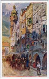 """Zweispänniger Planwagen vor dem Gasthof """"zur Rose"""" in der Altstadt von Innsbruck, Herzog-Friedrich-Straße 39. Farbautotypie 9 x 14 cm nach einem Original von Eduard Ferdinand Hofecker; Verlag Wilhelm Stempfle, Innsbruck 1911; Inv.-Nr. vu1914fat00071"""