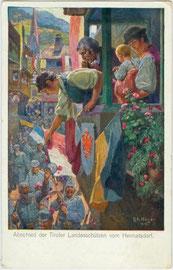 """""""Abschied der Tiroler Landesschützen vom Heimatsdorf"""". Farbautotypie 10 x 15 cm nach einem Original von Rudolf Alfred Höger 1915. Impressum: W. R. B. & Co., Wien III.  Inv.-Nr. vu105fat00025"""