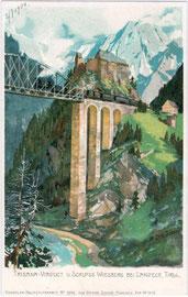 Die Trisannabrücke der Arlbergbahn, eine Stahlbogenbrücke beim Schloss Wiesberg in Tobadill bei Landeck, Tirol. Kombinationsfarbdruck 9 x 14 cm nach einem Original von M(ichael). Zeno Diemer. Impressum: Othmar Zieher, München.  Inv.-Nr. vu914kfd00012