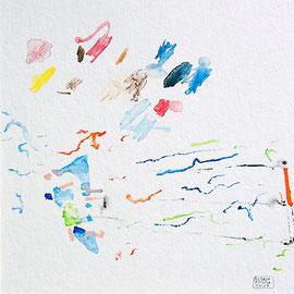 """""""Vent de plage""""  Aquarelle sur papier Hahnemülle - 23cmx23cm"""