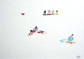 """""""Plage"""" Aquarelle sur papier Hahnemülle 34cmx24cm"""