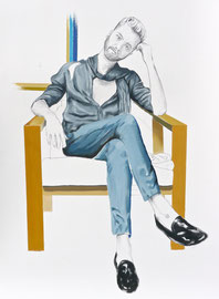 Gunnar (Portrait of Gunnar Deatherage), Graphite and Oil on Paper, 24 x 18 inches, 2015