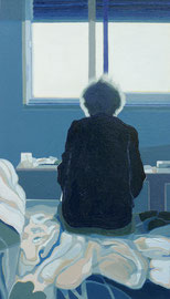 Untitled, (Room #506, Hôpital Américain de Paris, Series), Oil on Paper, 11 1/2 x 6 1/2 inches, 2019