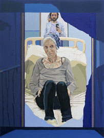 Self Portrait (w/ Maman, Hôpital Américain de Paris, Series - After Jan Vermeer), Oil on Paper, 16 x 12 inches, 2018