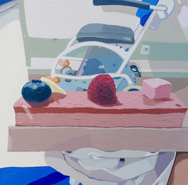 Pâtisserie Dalloyau, (Hôpital Américain de Paris, Series), Oil on Paper, 9 x 8 3/4 inches, 2019