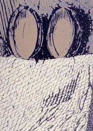 """""""Zwei hoch"""", 1999, Linolschnitt auf Bütten, 95,5 x 68 cm (106 x 78 cm)"""