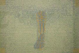 """transfer"", 2005, Linolnschnitt auf Seidenpapier und Karton (Unikat), 50,5 x 75 cm"