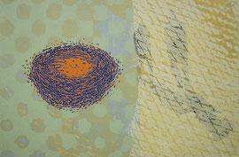 O.T., 2002, Linolschnitt auf Seidenpapier und Karton (Unikat), 50 x 76 cm (56 x 82 cm)