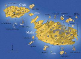 Lage der Tempel in Malta und Gozo .... Frauen machen Geschichte