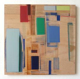 Anne Schreiber 'ohne Titel (construction site)' (M-86) 2018 50x50 cm Öl+Alkydharz auf Holz