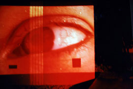 con-sequenze, Turin, 1994. Slideprojection on structures.
